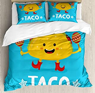 Mexican Duvet Cover Set King Size, Dancing Funny Taco Smiling Face and Maracas Childish Icon Cartoon, Decorative 3 Piece Bedding Set with 2 Pillow Shams, Earth Yellow Blue Vermilion