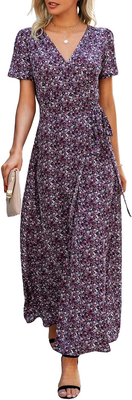 PRETTYGARDEN Summer V Neck Maxi Dress Boho Wrap Casual Beach Long Dresses with Split