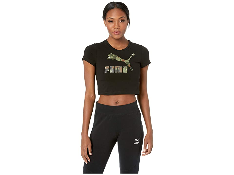 PUMA Wild Pack Cropped Tee (Cotton Black/Camo) Women