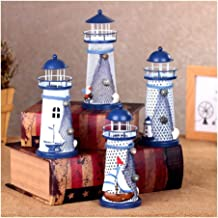 Candle Holders Nautical Marine Iron Tealight Holder Mediterranean Style Lighthouse Nautical Fish Net Shell Buoy Decor Tea ...