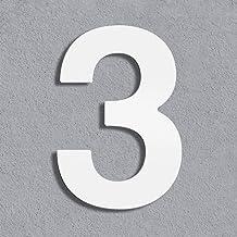Thorwa® Design roestvrij stalen huisnummer, wit gecoat, incl. montagemateriaal/H: 160 mm/RAL 9003 / weerbestendig (3)