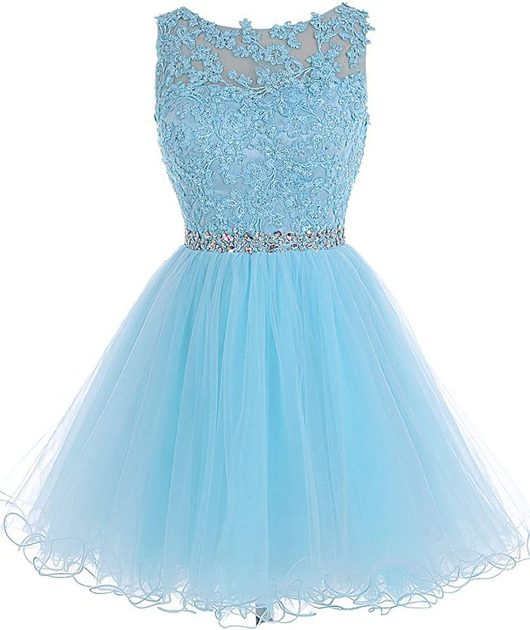 Short Homecoming Dresses Lace Open Back Cocktail Evening Party Dresses Tulle Prom Dress Appliques
