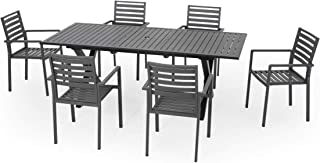 Great Deal Furniture Carrie Outdoor Modern 6 Seater Aluminum Dining Set with Expandable Table, Black and Gun Metal Gray