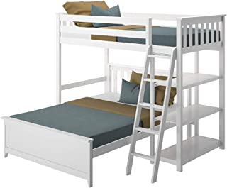 Max & Lily L Shape Twin Over Full Bunk Bed, White