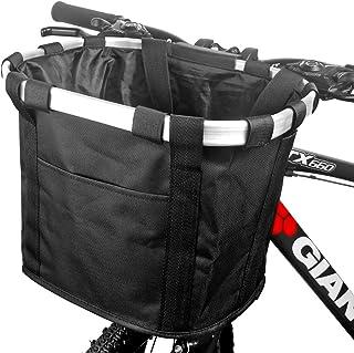 FUNSPORT Bicycle Basket Bike Front Basket Folding Detachable Cycling Bag- Perfect Removable Dog Basket for Bike- Pet Cat D...