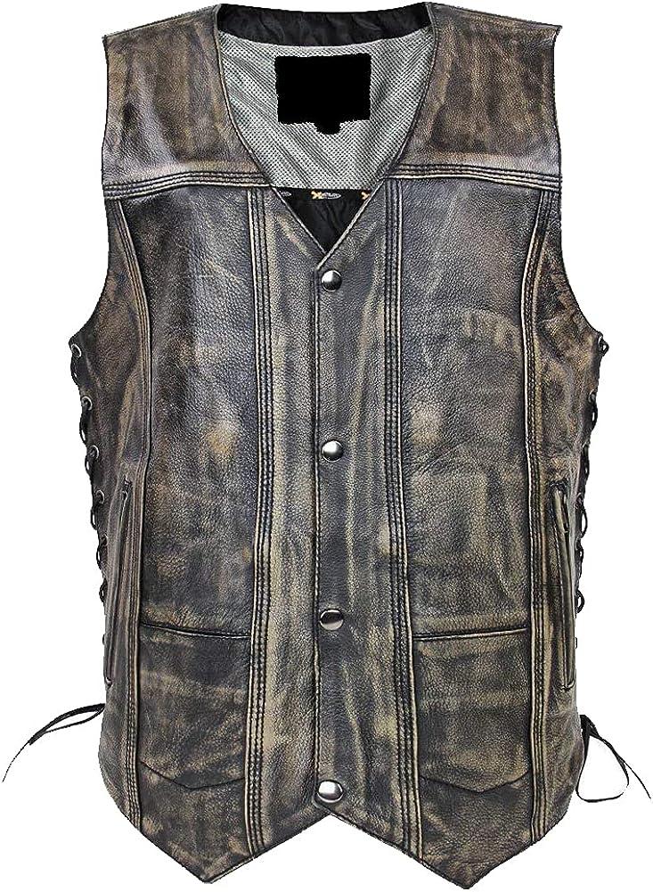 Men's Genuine Cowhide Distressed Brown Multi-Pocket Leather Vest