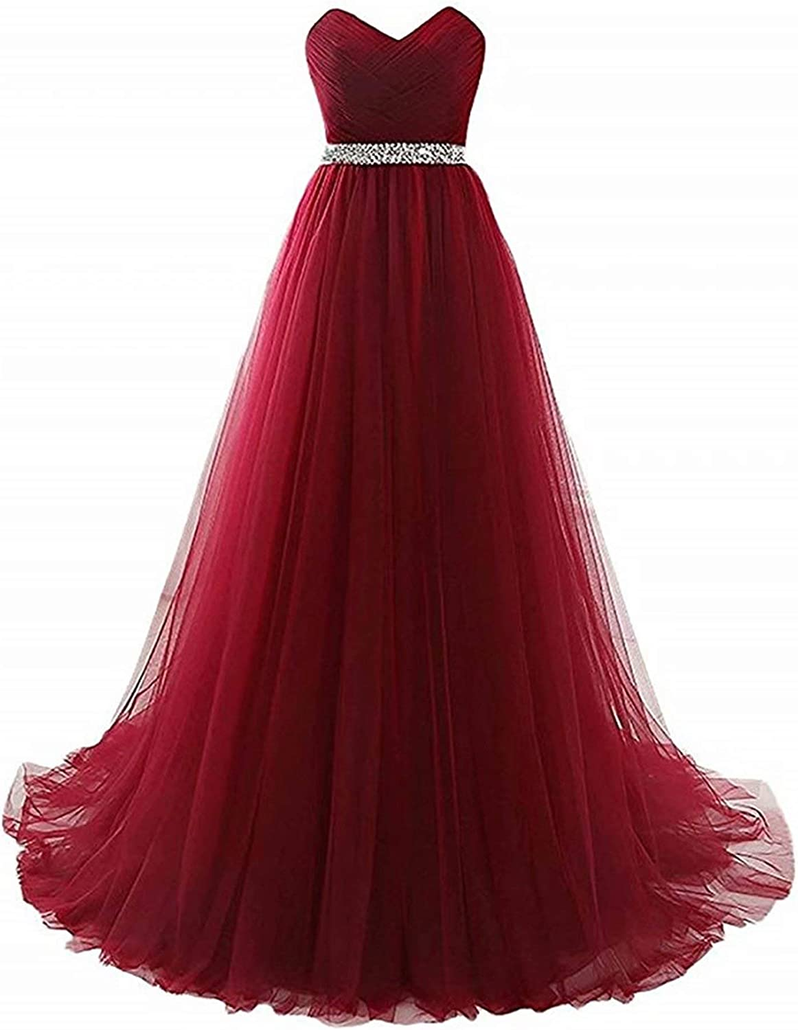 Honeywedding Women's Sweetheart Long Tulle Prom Dresses Maxi Strapless Beads Pleated Evening Formal Party Gowns