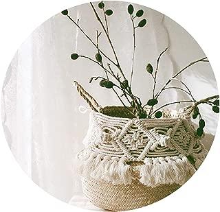 Handmade Bohemian Tassel Decoration Wicker Basket Garden Flower Pot Study Room Storage Rattan Basket Home Organizer Basket,A,32cmX28cm
