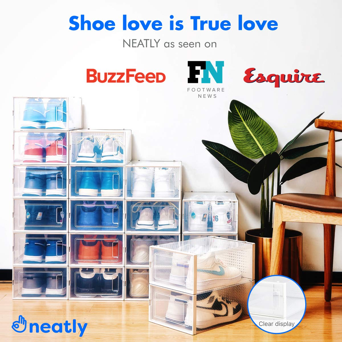 6 Collapsible Cube Storage Bins for Mens Shoes Women Shoes Sneakers Stackable Shoe Racks for Closets and entryway Shoe Storage Cabinet /ÉLEVER NEATLY Shoe Organizer Set of 6, Medium