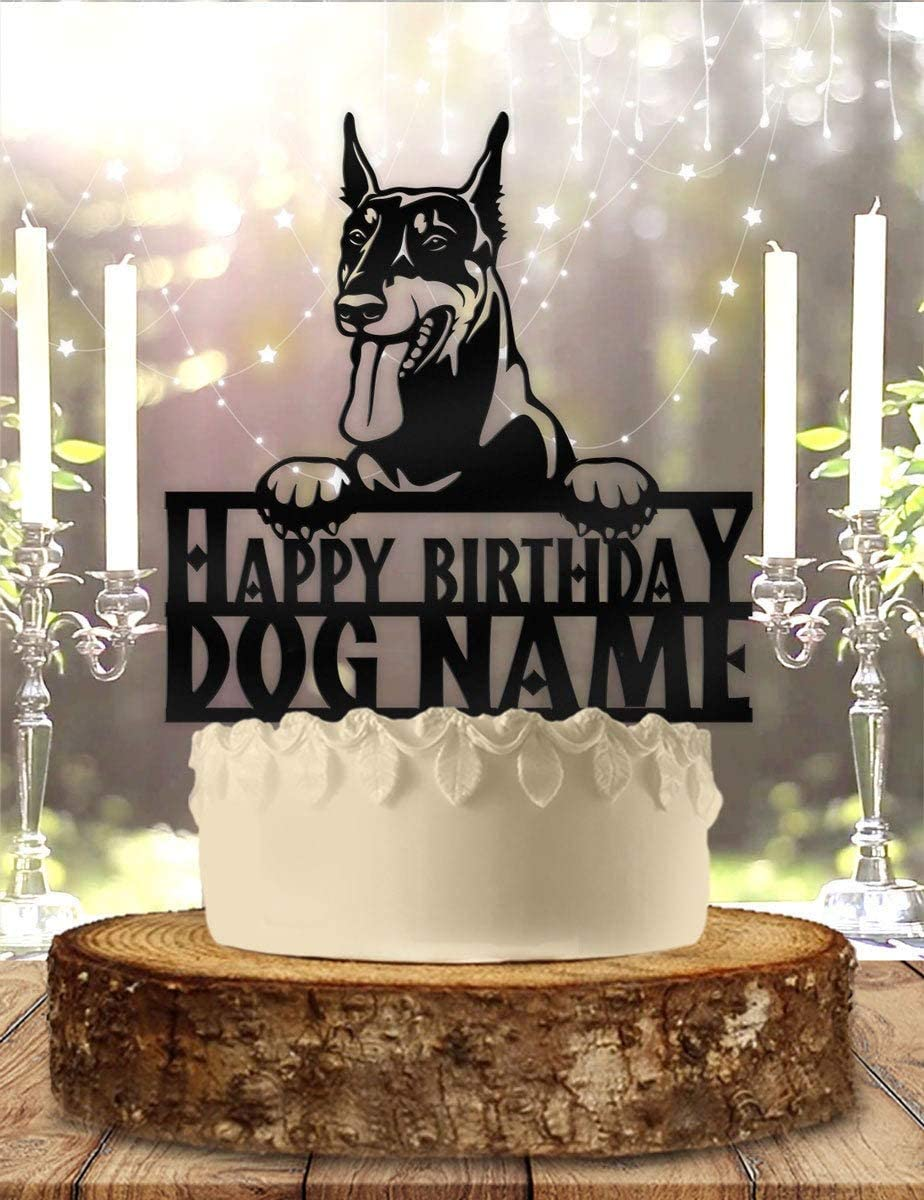 DKISEE Doberman Dog Free Shipping New Pet Personalized outlet - Topper H033 Cake Birthday