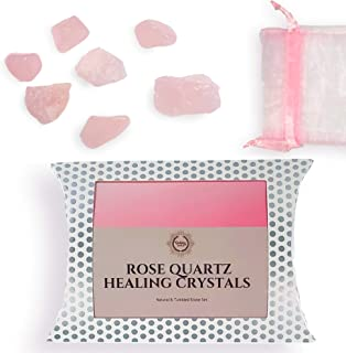 Natural & Tumbled Rose Quartz Stones Healing Crystals Gemstone with Pink Crystal Pouch - Rose Quartz Healing Crystals For Love & Healthy Relationships - 7 Piece Pink Quartz Crystal Kit