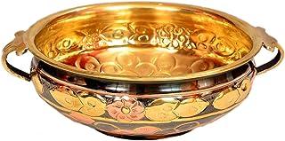 PARIJAT HANDICRAFT Urli Bowl Hammered Pure Brass Multicolor Size of Diameter 6 inch's(Weight 324G)