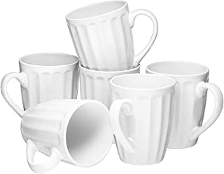 Set of 6 Large-Sized 16 Ounce Ceramic Coffee Grooved Mugs, White