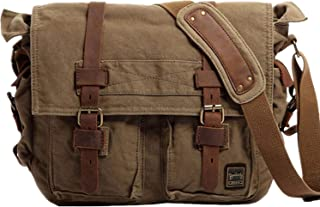 Vintage Military Men Canvas Messenger Bag For 13.3-17Laptop