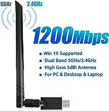 USB WiFi Adapter 1200Mbps, Linkstyle USB Wireless Network Adapter 802.11ac with Dual Band 5.8GHz/2.4GHz 5dBi USB 3.0 WiFi Dongle External Antennas for PC Desktop Laptop Windows 10/8.1/7/XP/Vista, Mac