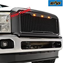 EAG Replacement Upper Grille Front Grill with Amber LED Lights Fit for 11-16 Ford F250 F350 Super Duty - Matte Black