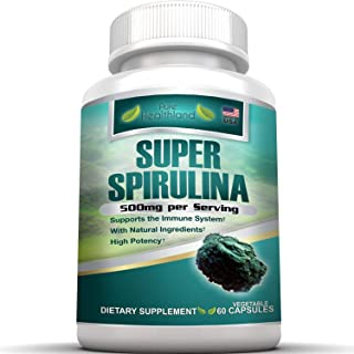 AMAZING SUPERFOOD SPIRULINA (Earthrise) SUPPLEMENT PILLS. Powerful Antioxidant Easy-To-Swallow 500mg Vegetable Capsules. Best Support for Eye Health, Weight Loss, Increased Energy, Natural Detox