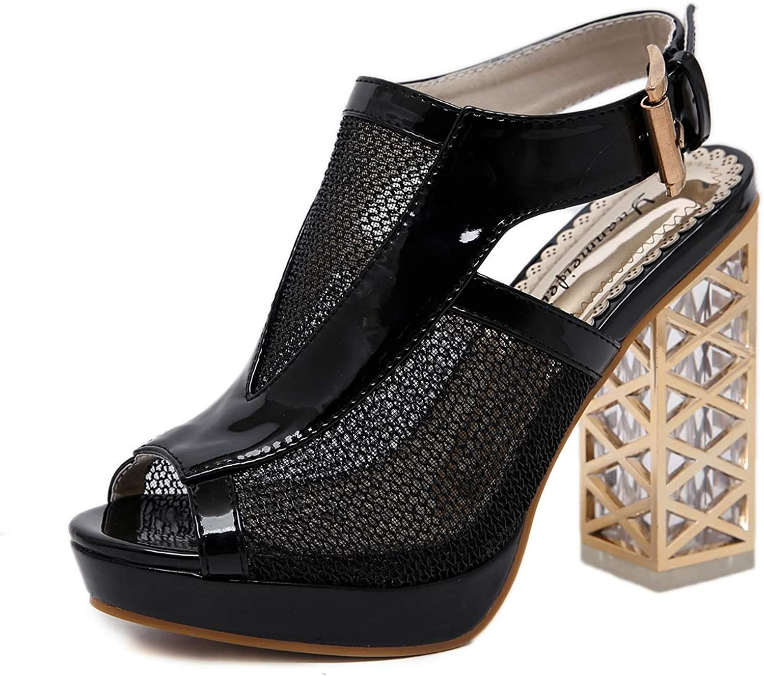 Women's Sandals - Crystal Thick with High Heel Cutout Platform Sexy Fish Mouth shoes