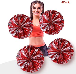 AUHOKY 4Pcs Metallic Foil Cheerleading Pom Poms, Premium Cheerleader Pompoms Kit, Cheering Hand Flowers for Sports Meeting Cheers Ball Game Dance Fancy Dress Night Party - 6 Inches