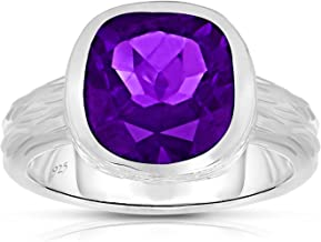 Unique Royal Jewelry Sterling Silver Genuine Amethyst Tree Bark Finish Heavy Casting Ring