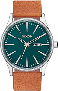 NIXON Sentry Leather A116 - Dark Green/Saddle - 111M Water Resistant Men's Analog Classic Watch (42mm Watch Face, 23mm Leather Band)