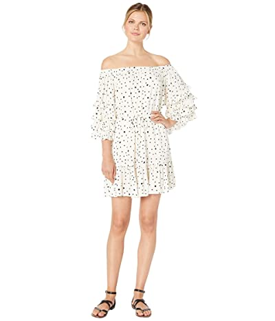 American Rose Kayla Off the Shoulder Polka Dot Dress (Cream/Black) Women