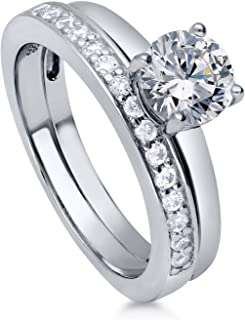 Rhodium Plated Sterling Silver Round Cubic Zirconia CZ Solitaire Engagement Wedding Ring Set 1.15 CTW
