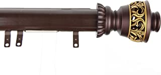 Decorative Traverse Curtain Rod w/Sliders Filagree Finial 66-120 inch - Cocoa