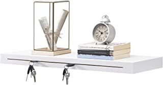 comprar comparacion en.casa Estantería de Pared y Porta llaveros 80 x 23,5 x 5 cm de Diseño con Ganchos para Colgar Blanco