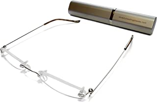 Rimless Reading Glasses for Men and Women +1.5 Silver Ultra Slim and Ultra Light Includes Aluminium Matching Case By ilovemyreadingglasses