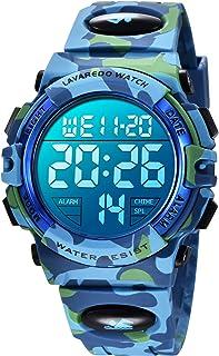 Orologio da Polso Orologi Sport per Bambini Digitale multifunzione Impermeabile LED Luce Allarme Calendario Data con cintu...