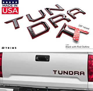 BDTrims Tailgate Domed 3D Raised Letters Compatible with 2014-2020 Tundra Models (Black with Red Outline)