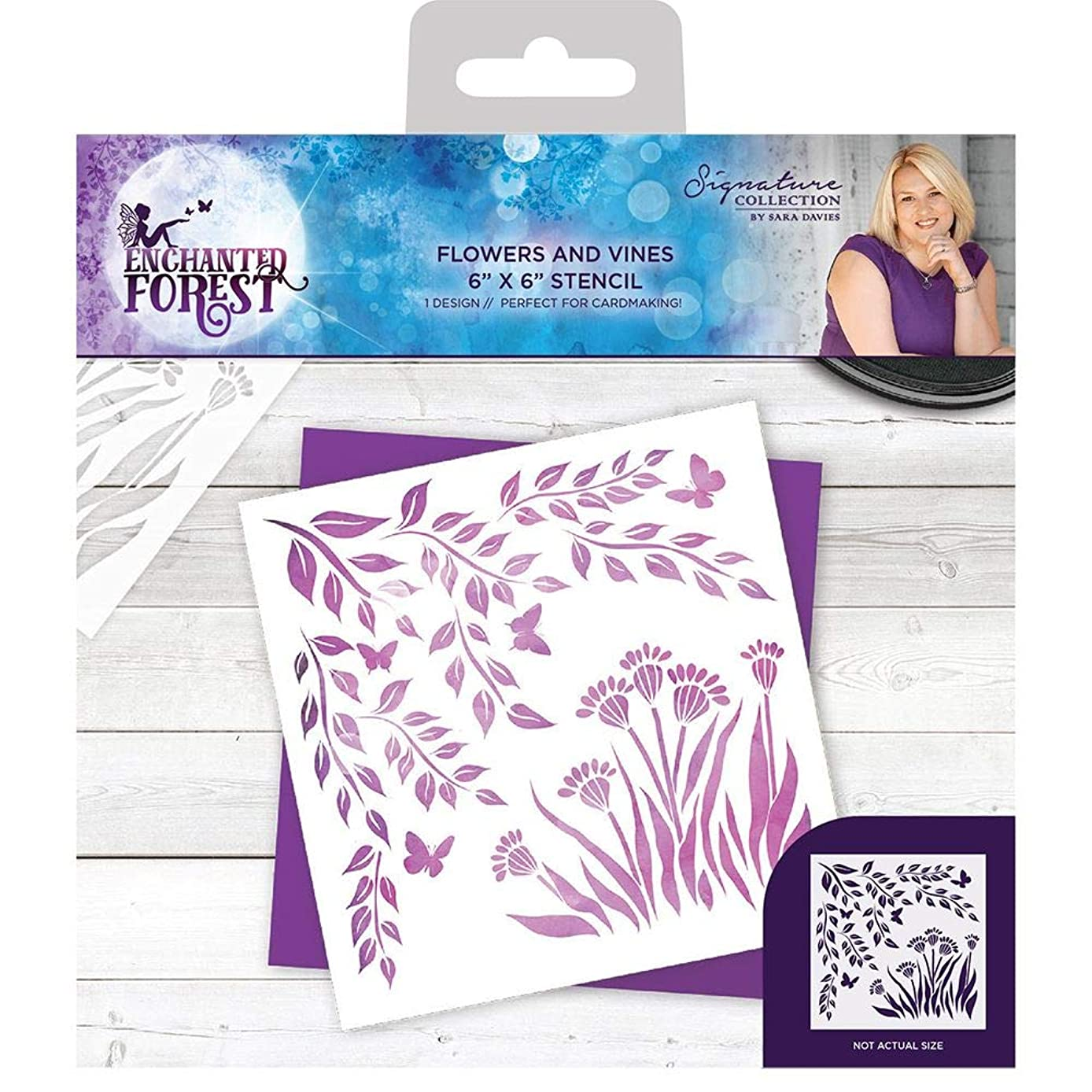 Sara Signature Collection S-EF-STEN-FAV Sara Signature-Enchanted Forest Flowers and Vines Stencil, Clear