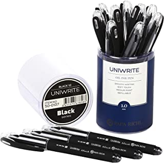 Papa Richi Luxury Oil Pens UNIWRITE (Pack of 12) with Kernel 1.0mm - Premium Quality & Easy Writing - Original (Blue) Ink or Black Ink - Business Gift Pens - 30 Day Warranty (Uniwrite 12 pens, Black)