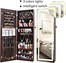 AOOU Jewelry Organizer Hanging Wall Mounted Jewelry Armoire,Full Length Mirror LED Lock Door Jewelry Cabinet with Best Intelligent Switch & Large Storage Capacity, 3 Changeable LED Lights Colors Brown