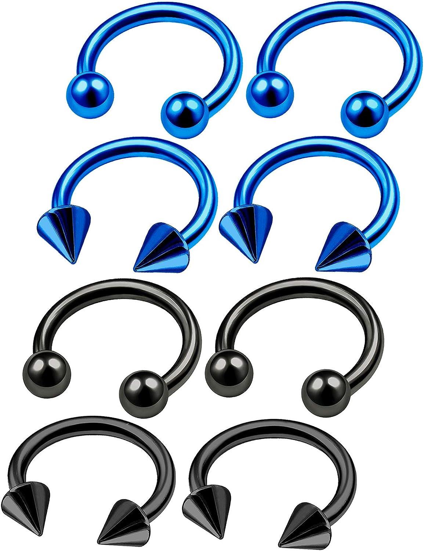 8Pcs Dark Blue Black Anodized 16g 5/16 8mm Barbell Horseshoe Earrings Piercing Jewelry Daith Septum Nose 3mm Ball Cone M3812