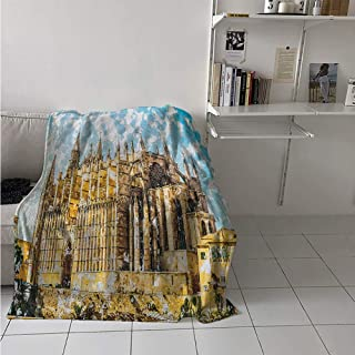 Warm Microfiber All Season Blanket, Big Gothic Building Sea Shore Cathedral of Palma De Mallorca View from Road, Velvet Plush Throw Blanket 60x50 Inch Cream Blue White