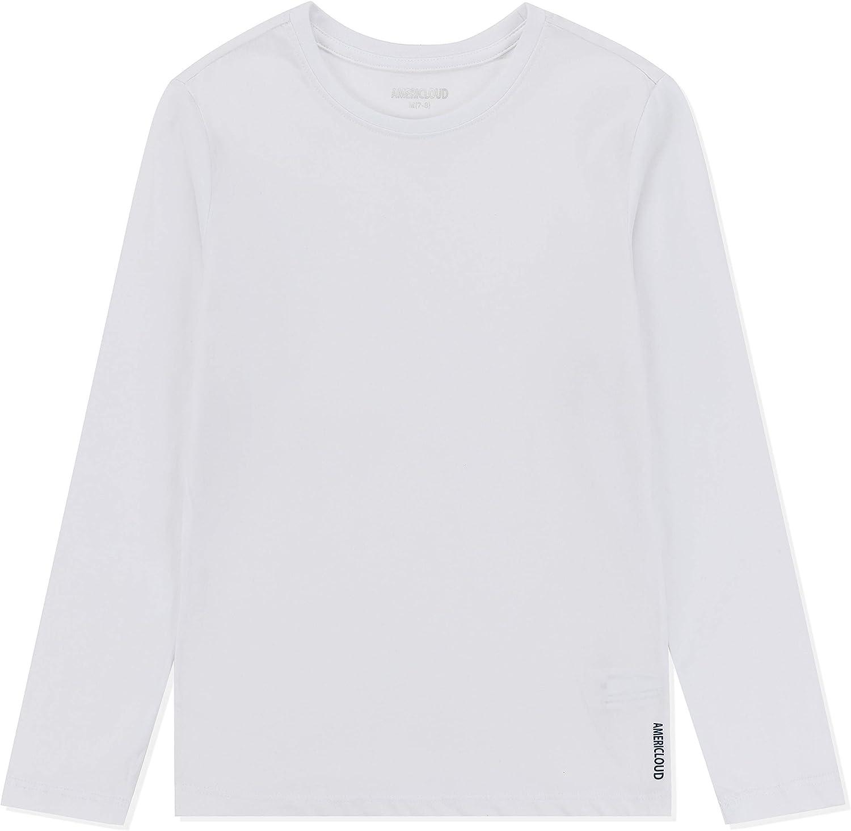 AMERICLOUD Kids Soft Cotton Jersey Long Sleeves T-Shirt Basic Crewneck Tee Shirts for Girls and Boys