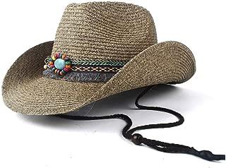 TX GIRL Cowboy Hat Women Straw Hollow Western Cowboy Hat Summer Lady Cowgirl Jazz Church Cap Tassel Ribbon Sombrero Beach Sun Hat Novelty Party Costumes (Color : Coffee, Size : 56-58)