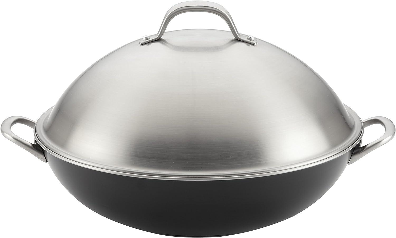 Circulon 10859 Ultimum Forged Aluminum Nonstick Covered Wok, 13.75-Inch, Black, Large,