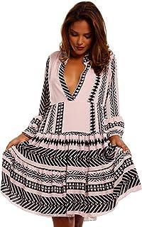 7155eb3ba7575d YC Fashion & Style Damen Tunika Kleid Retro Muster Boho Look Party-Kleid  Freizeit Minikleid