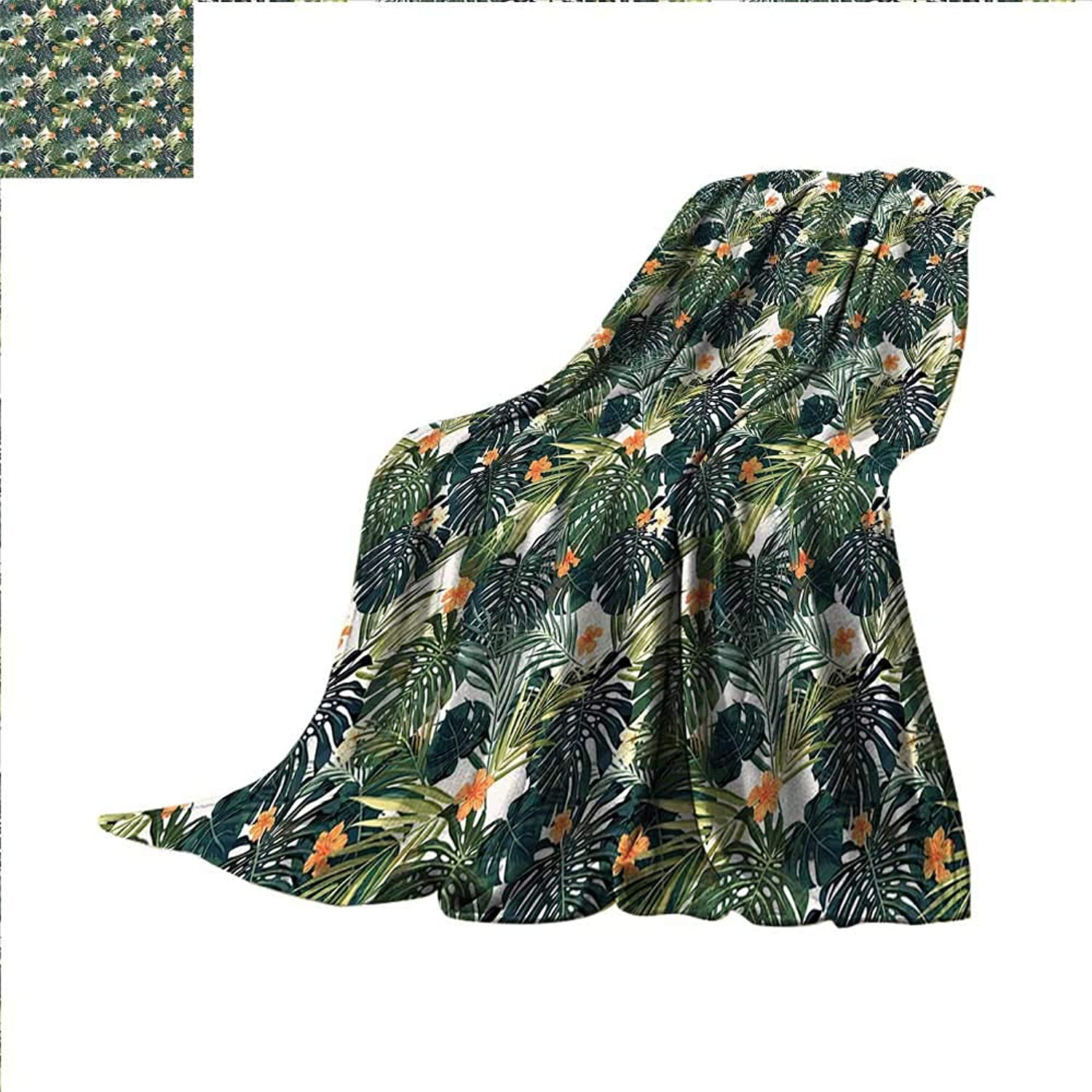 Smallbeefly Green Digital Printing Blanket Hawaiian Summer Aloha Pattern with Tropical Plants and Hibiscus Flowers Summer Quilt Comforter 60 x50  Green Dark Teal orange