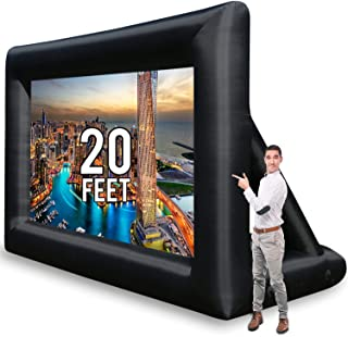 KHOMO GEAR Jumbo 20 Feet Inflatable Outdoor and Indoor Theater Projector Screen - Includes Inflation Fan, Tie-Downs and St...