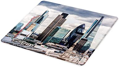 Ambesonne Urban Cutting Board, London England Skyline Buildings and Skyscrapers and Cloudy Sky Modern Capital City, Decorative Tempered Glass Cutting and Serving Board, Large Size, Multicolor