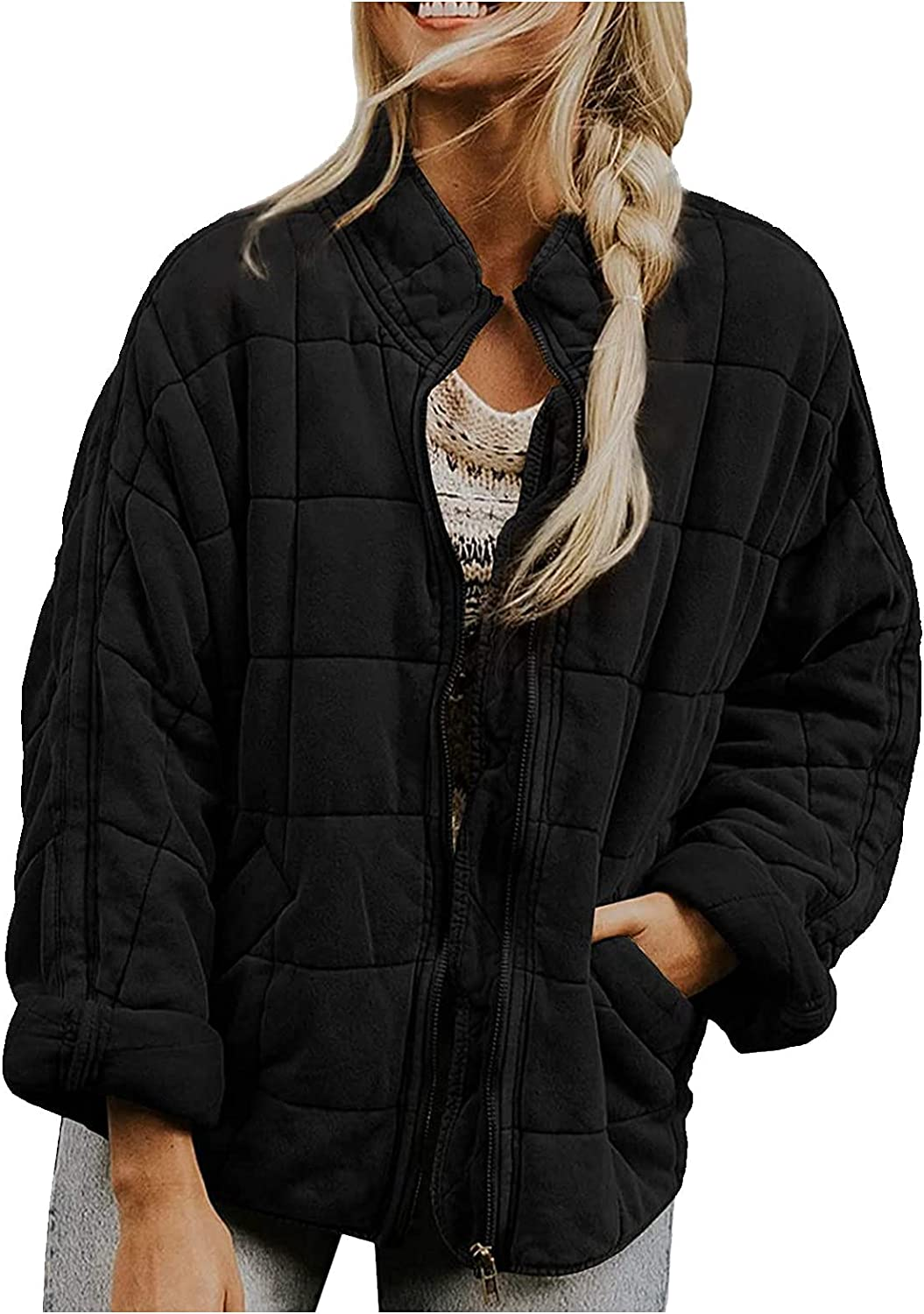 Womens Lightweight Casual Jackets Quilted Zip Up Long Sleeve Stand Neck Warm Winter Outwears Coat