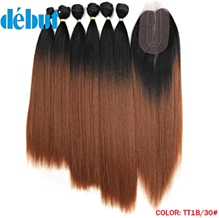 DÉBUT synthetic hair bundles with simple closure weave bundles with frontal swiss lace 7pcs Yaki Straight 16 18 20 inch 250g high temperature fiber