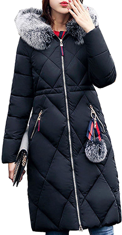 S&S-women Winter Fashion Simple Solid Faux Fur Collar Hooded Warm Long Coat