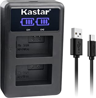 Kastar LCD Dual Charger for Sony NP-FW50 and Alpha 7 7R 7R II 7S a7R a7S a7R II a5000 a5100 a6000 a6300 NEX-7 SLT-A37 DSC-RX10 DSC-RX10 II III 7SM2 ILCE-7R 7S QX1 5100 6000, VG-C1EM VG-C2EM Grip