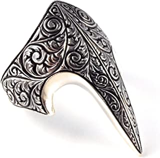 Solid 925 Stelring Silver Fang Engrave Style Turkish Handmade Luxury Men's Thumb Ring