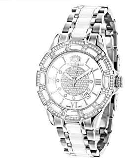 LUXURMAN Ladies Diamond Ceramic Watch 1.25ct White MOP Galaxy
